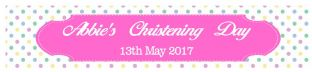 Multicolour Pink Christening Banner